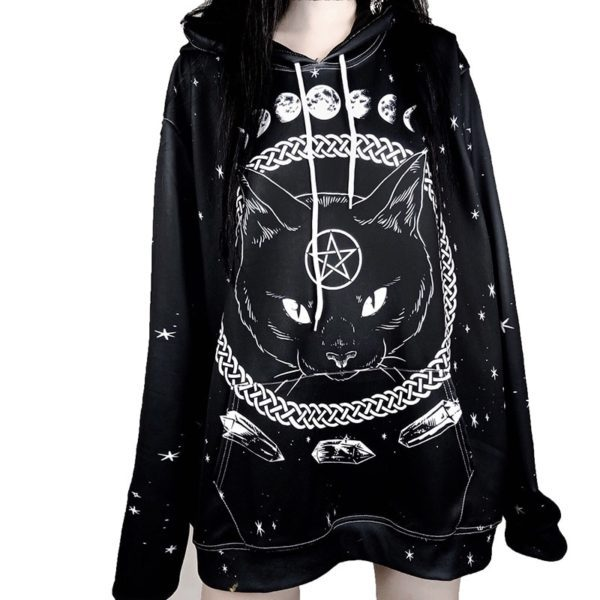 Witchcraft Cat Printed Hoodie