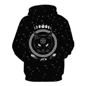 Witchcraft Cat Printed Hoodie 3