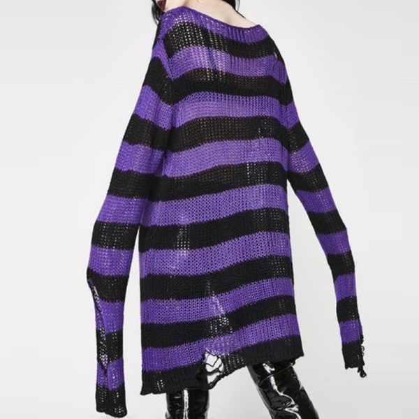 Long Purple Striped Pullover 1