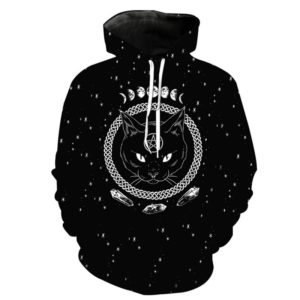 Witchcraft Cat Printed Hoodie 2