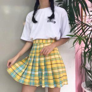 Rainbow Plaid Skirt 1