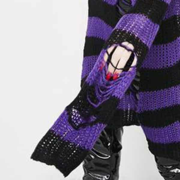 Long Purple Striped Pullover 4