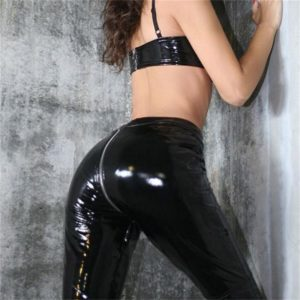 Faux Leather Pants with Back Zipper