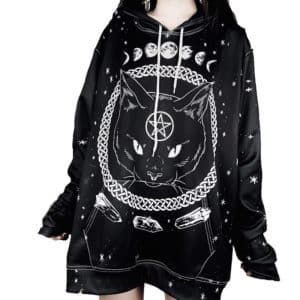Witchcraft Cat Printed Hoodie 1