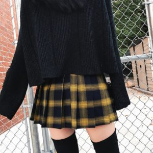 11f4d55d084314 The product is already in the wishlist! Browse Wishlist · High Waist Gold & Black  Plaid Mini Skirt