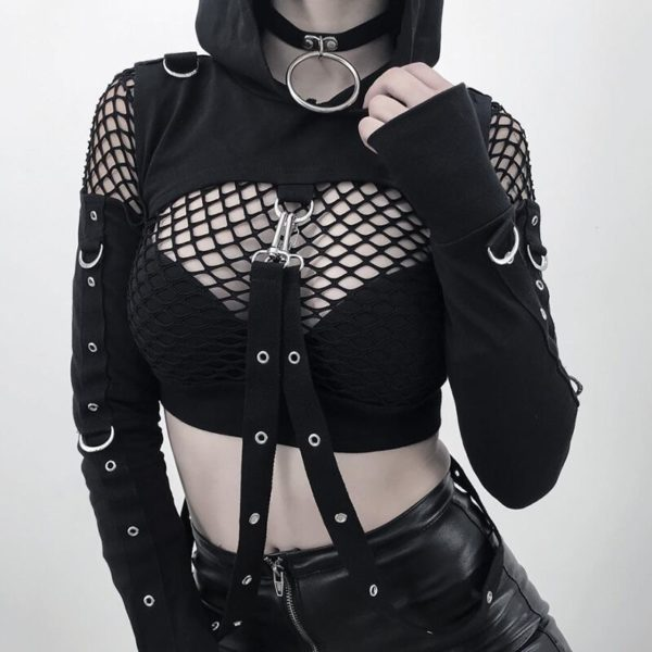 Mesh Crop Top with Chain