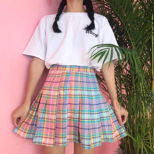 Rainbow Plaid Skirt