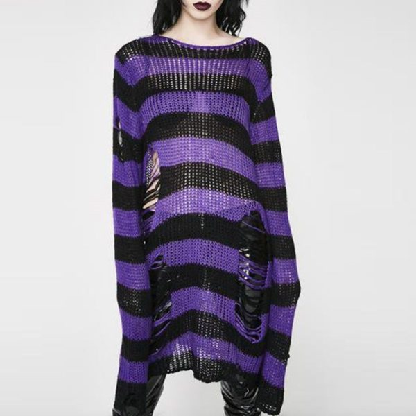 Long Purple Striped Pullover