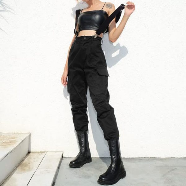 High Waist Adjustable Straps Cargo Pants