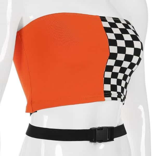 Split Checkerboard Tube Top 4