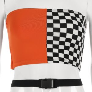 Split Checkerboard Tube Top 3
