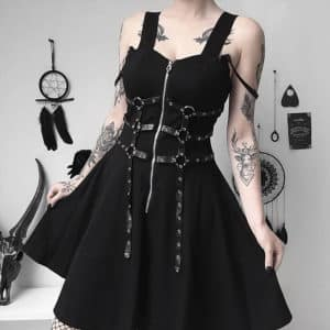 Chain Zipper Spaghetti Strap Dress