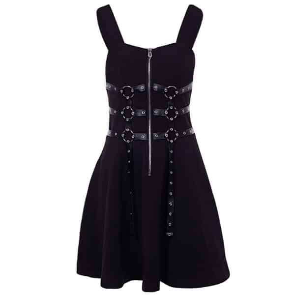 Chain Zipper Spaghetti Strap Dress 1