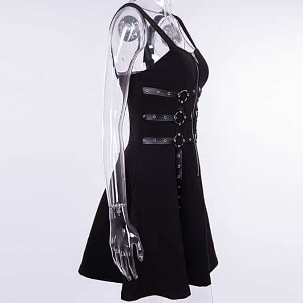 Chain Zipper Spaghetti Strap Dress 2