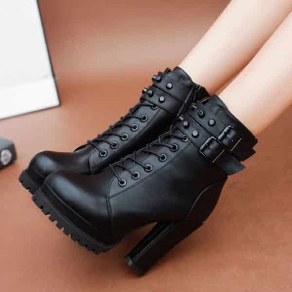 High Heels Zipper Ankle Boots 1