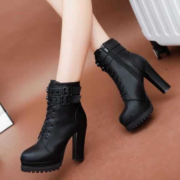 High Heels Zipper Ankle Boots