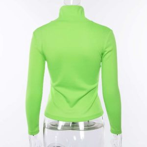 Neon Ribbed Turtleneck Sweater 2