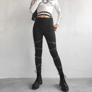 High Waist Leggings with Rivet Straps 1