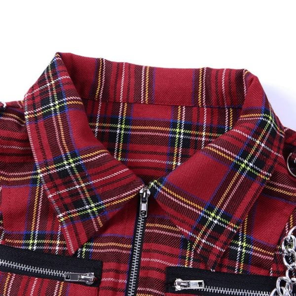 Plaid Crop Top with Zipper Chain 3