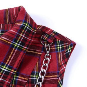 Plaid Crop Top with Zipper Chain 2