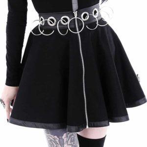 High Waist Zip-up Mini Skirt