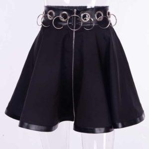 High Waist Zip-up Mini Skirt 1