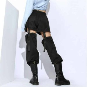 High Waist Trousers With Plastic Buckles 1