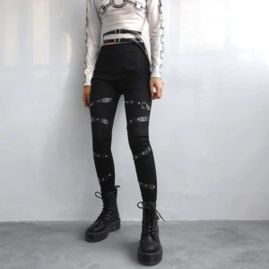 High Waist Leggings with Rivet Straps 2
