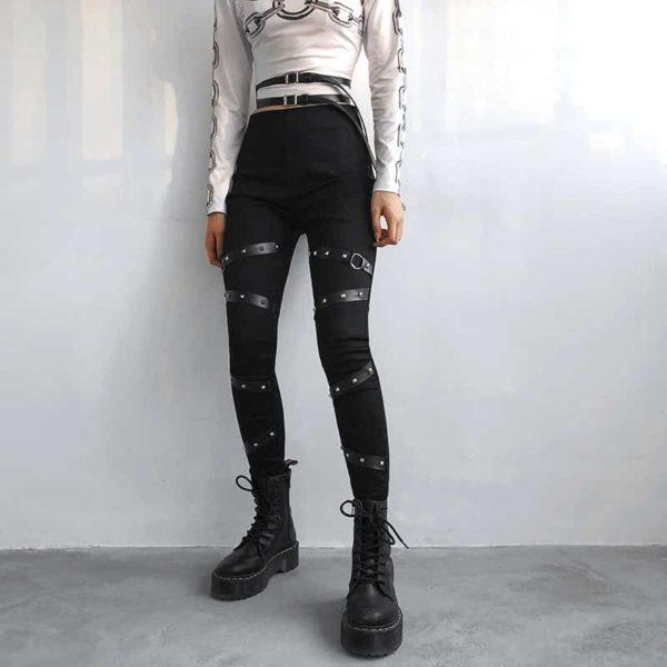 High Waist Leggings with Rivet Straps 2