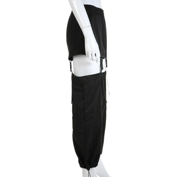 High Waist Trousers With Plastic Buckles 2