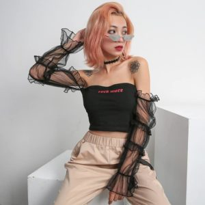 Rockmore Crop Top with Mesh Sleeves 1