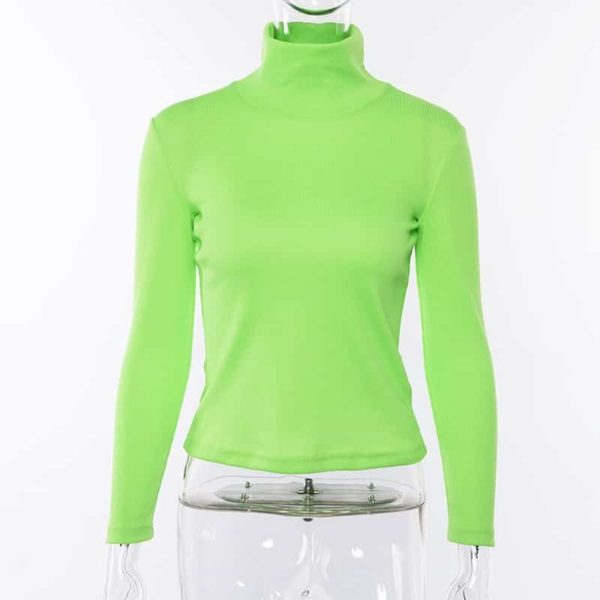 Neon Ribbed Turtleneck Sweater 1