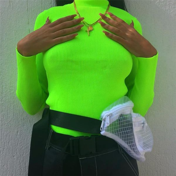 Neon Ribbed Turtleneck Sweater