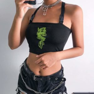 Neon Green Dragon Black Crop Top with Buckles 1