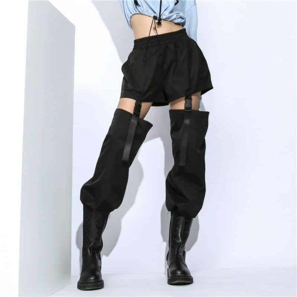High Waist Trousers With Plastic Buckles