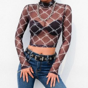 Barbed Wire Mesh Crop Top