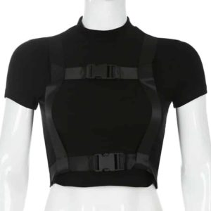 Black Crop Top with Buckles