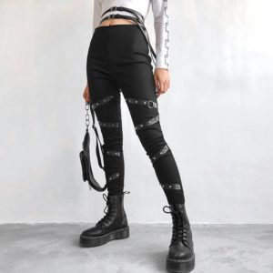 High Waist Leggings with Rivet Straps