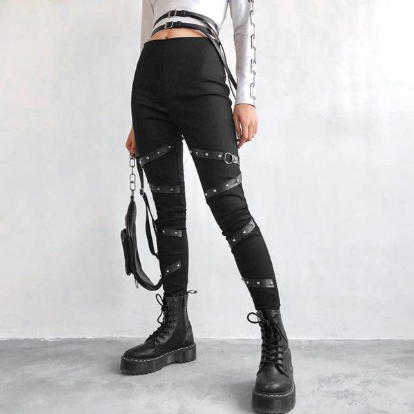 High Waist Leggings with Rivet Straps