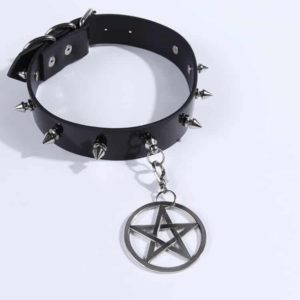 Metal Pentagram Studded Choker