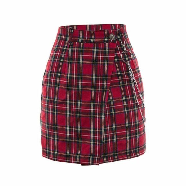 Plaid Mini Skirt with Chains