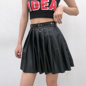 Rivet Pleated Black Skirt with Metal Ring Chain