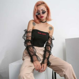 Rockmore Crop Top with Mesh Sleeves