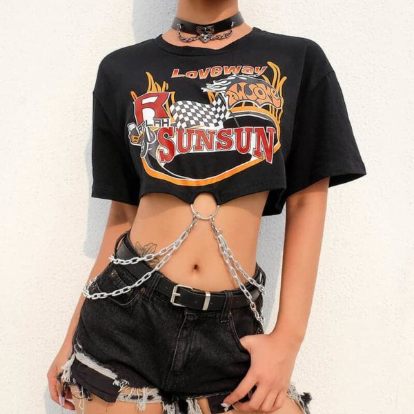 """Loveway"" Printed Crop Top with Chains"