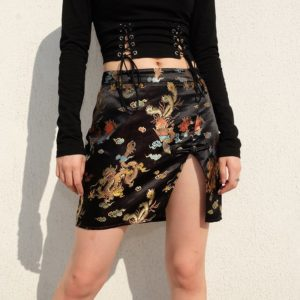Chinese Style Split Mini Skirt