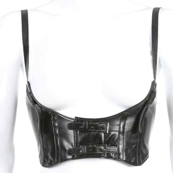 Faux Leather Buckles Corset