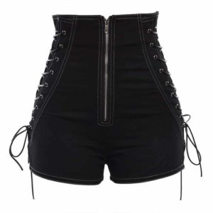 High Waist Lace-Up Sides Shorts