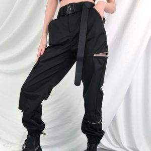 High Waist Open Zippers Trousers