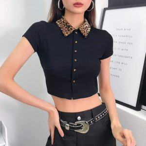 Leopard Collar Crop Top
