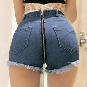 Ripped Denim Shorts with Ring Zipper